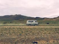 van traveling through Western Mongolia