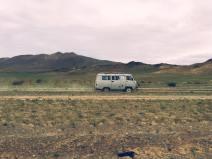 van traveling through Western Mongolia