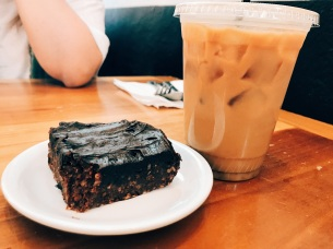 Raw Vegan Brownie and an iced vanilla latte with almond milk from Hivolt