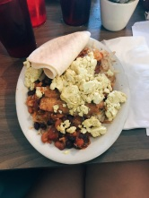 """Huevos"" Rancheros from Slim Goodies with a tofu scramble and vegan bacon"